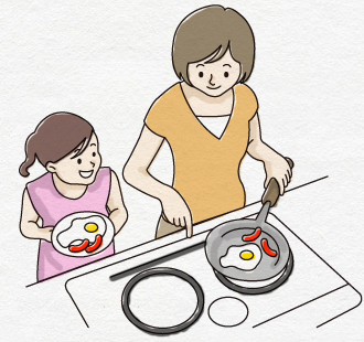 キッチン 笑顔を交わし家族のコミュニケーションの場となる空間