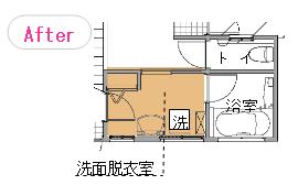 洗濯室と洗面脱衣室を一つにして大きくする事で、動線がすっきりし広く使える。