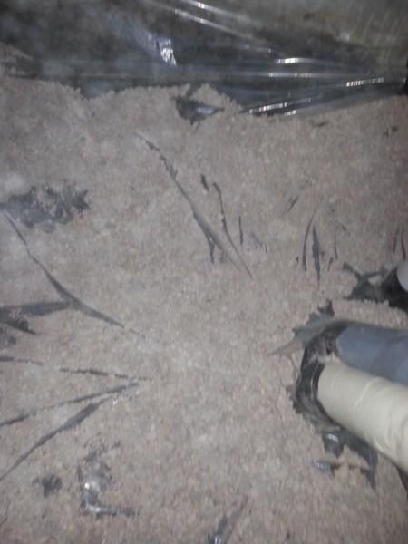 洗面所の床下調湿工事を行いました。床下の結露や寒さはこれで防げます
