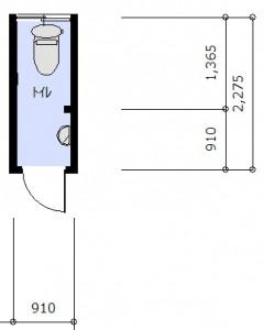 アフター 和式便器と小便器の間の扉を撤去。小便器を撤去して奥のスペースへの導線の幅を確保。 パイプスペースがあるため、それを避けるような奥行の浅い寸法のトイレを選定。 小便器を撤去した場所には手洗い器を設置。 ドアから奥まで導線に沿った手すりを設置。