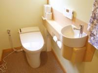 トイレ内に手洗器取り付け。自動洗浄付でより便利に